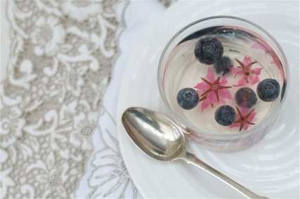 Elderflower jelly with Barbie pink borage flowers