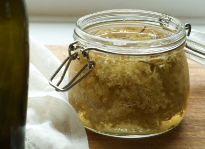 Elderflower steeping in vinegar