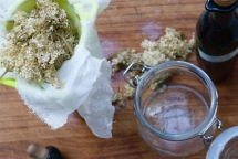 Straining Elderflower Vinegar