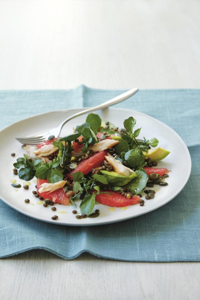Smoked mackerel., grapefruit and lentil salad