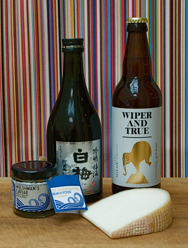 Plum Sake, Wiper and True Ale, Rachel goat's cheese and dried laver flakes.