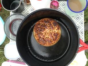 Butter fried crumpet