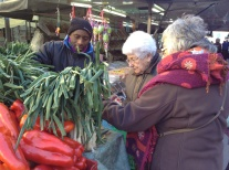 Merce and her mum in the market