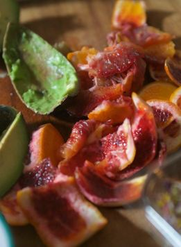 Blood oranges and avocado