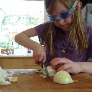 Chopping onions in swimming goggles
