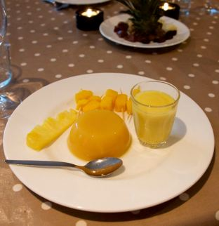 Tropical Jelly, Mango Kebab, Banana Smoothie and Pineapple Slice