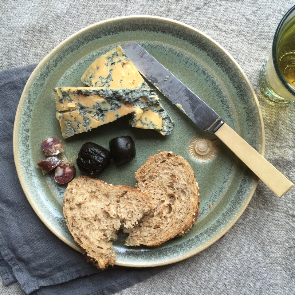 Ludlow Blue cheese, pickled walnuts and Sytch Farm Studio plate.