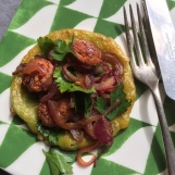 Green pea fritter with Chorizo and Cider