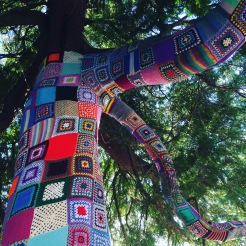 Guerilla crochet at Abergavenny Food Festival