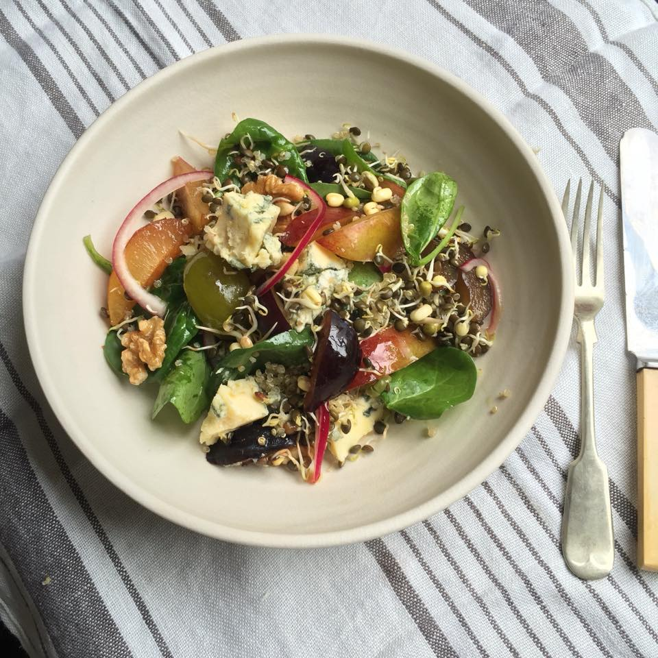 Sprouted Bean Salad with Plums and Stilton