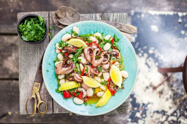Spanish style butter bean and squid salad